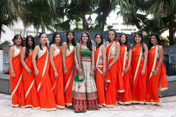 Indian wedding bride bridal party orange sari in Hollywood, Florida Indian Wedding by Channa Photography