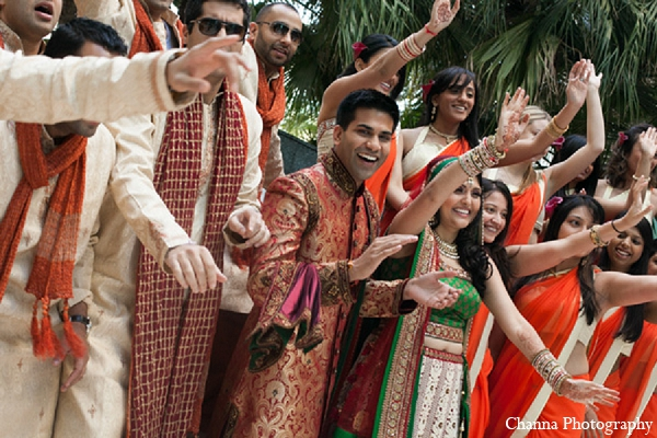 Indian wedding bride groom bridal party in Hollywood, Florida Indian Wedding by Channa Photography
