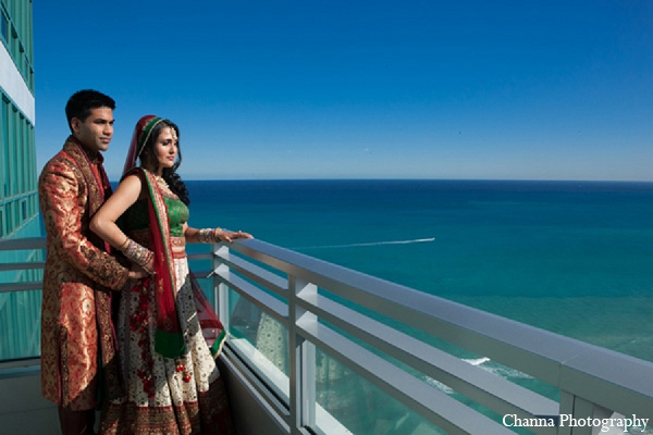 Indian wedding bride groom portrait ocean in Hollywood, Florida Indian Wedding by Channa Photography