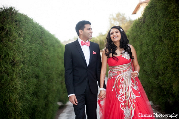 Indian wedding bride groom portraits pink gown in Hollywood, Florida Indian Wedding by Channa Photography