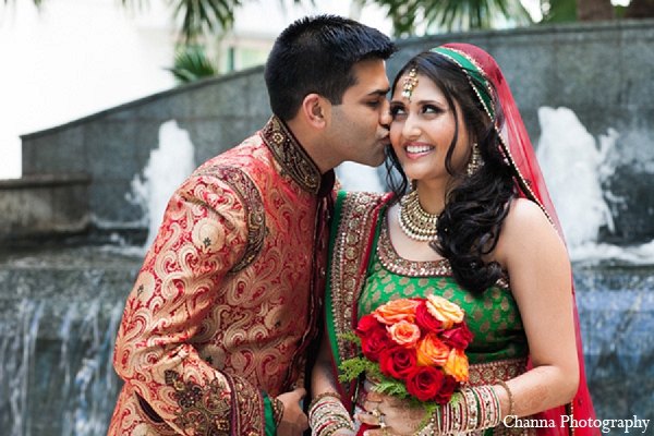 Indian wedding bride groom portraits in Hollywood, Florida Indian Wedding by Channa Photography