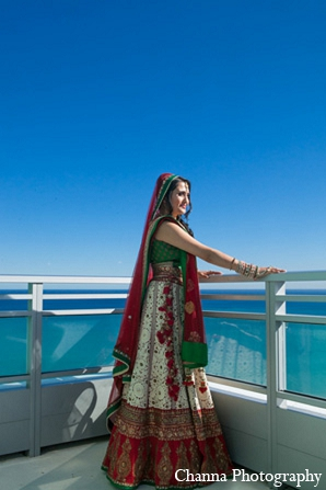 Indian wedding bride lengha portrait in Hollywood, Florida Indian Wedding by Channa Photography