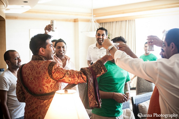 Indian wedding groom groomsmen getting ready in Hollywood, Florida Indian Wedding by Channa Photography