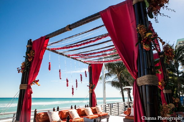 Indian wedding mandap beach ceremony in Hollywood, Florida Indian Wedding by Channa Photography