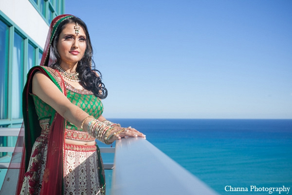 Indian wedding portrait bride ocean fashion in Hollywood, Florida Indian Wedding by Channa Photography