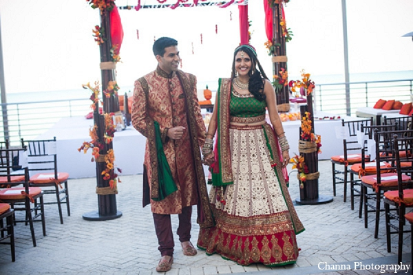 Indian wedding portraits bride groom in Hollywood, Florida Indian Wedding by Channa Photography