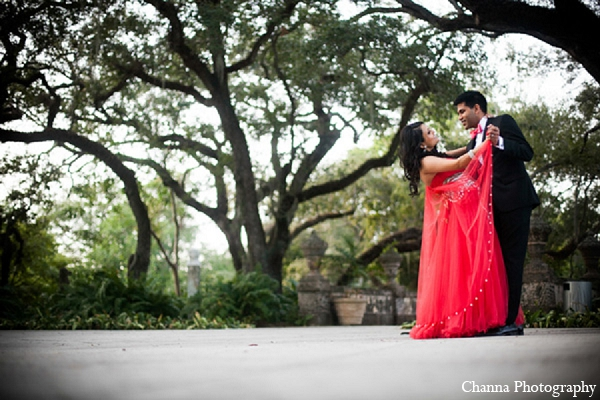 Indian wedding portraits pink gown bride groom in Hollywood, Florida Indian Wedding by Channa Photography