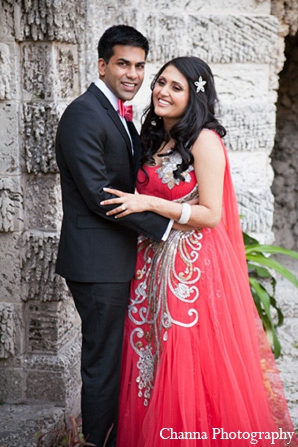 Indian wedding portraits reception outfits pink gown in Hollywood, Florida Indian Wedding by Channa Photography