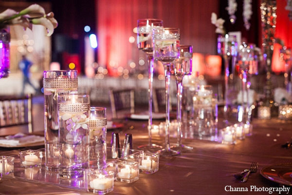 Indian wedding reception decor crystal in Hollywood, Florida Indian Wedding by Channa Photography