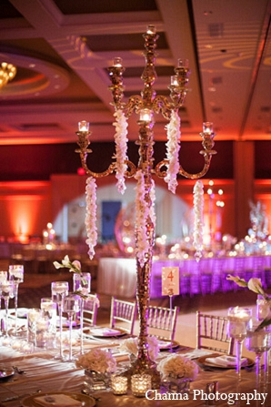 Indian wedding reception decor table settings in Hollywood, Florida Indian Wedding by Channa Photography