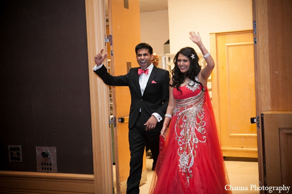 Indian wedding reception entrance bride groom in Hollywood, Florida Indian Wedding by Channa Photography