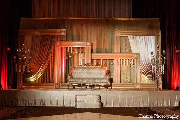 Indian wedding reception stage gold loveseat in Hollywood, Florida Indian Wedding by Channa Photography