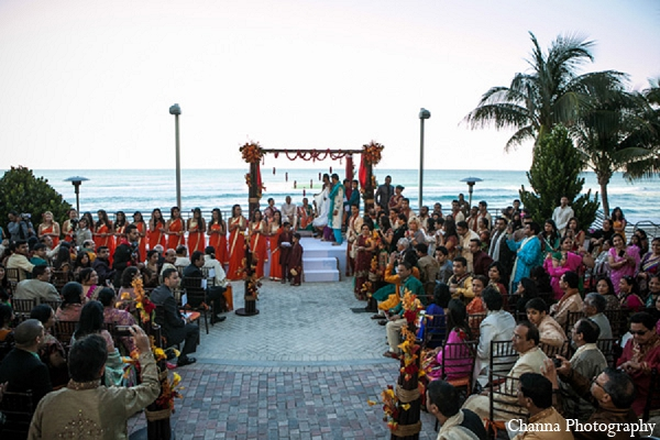 Indian wedding venue bride groom mandap in Hollywood, Florida Indian Wedding by Channa Photography