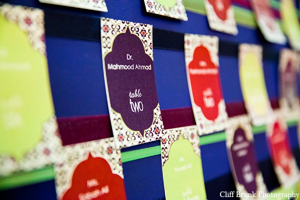 Pakistani wedding reception place cards in Pleasanton, California Pakistani Wedding by Cliff Brunk Photography
