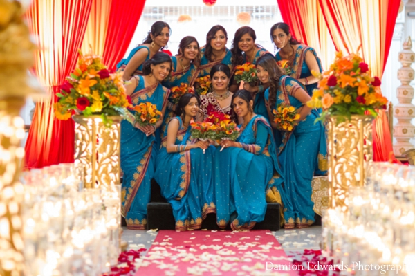 Indian wedding bridal party saris blue
