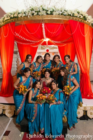Indian wedding bridal party saris