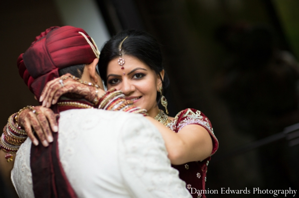 Indian wedding bridal portrait groom bride embrace