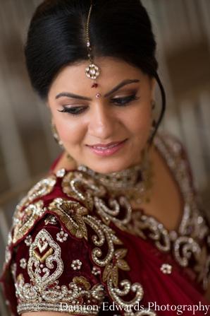 Indian wedding bridal portrait lengha tikka