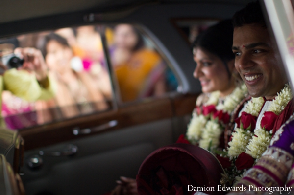 Indian wedding bride groom car