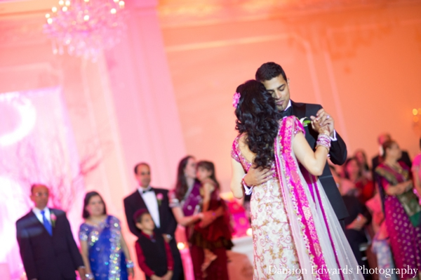 Indian wedding bride groom dancing reception