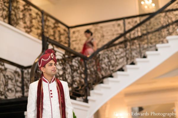 Indian wedding bride groom first look photos