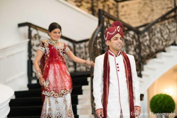 Indian wedding bride groom first look portrait