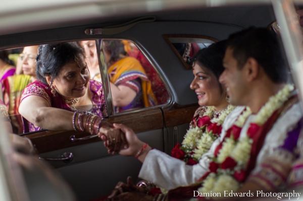 Indian wedding bride groom getaway car