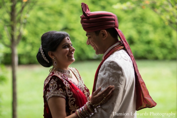 indian wedding bride groom outdoor portrait
