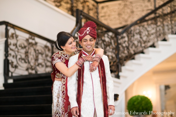 Indian wedding bride groom portrait first look