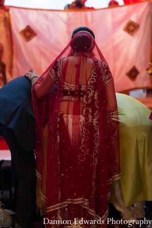 Indian wedding bride veil lengha ceremony