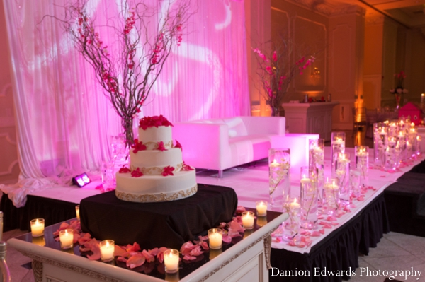 Indian wedding cake reception lighting