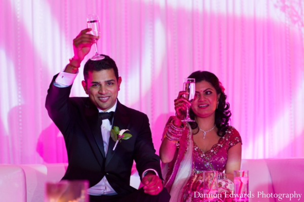 Indian wedding celebration lighting reception champagne