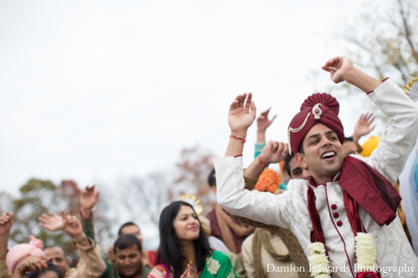 Indian wedding groom celebration street dancing