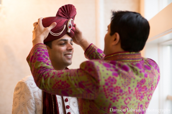 Indian wedding groom gets ready for ceremony