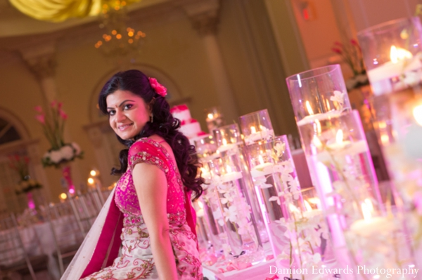 Indian wedding lengha reception lighting