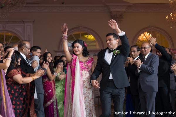 Indian wedding reception bride groom entrance