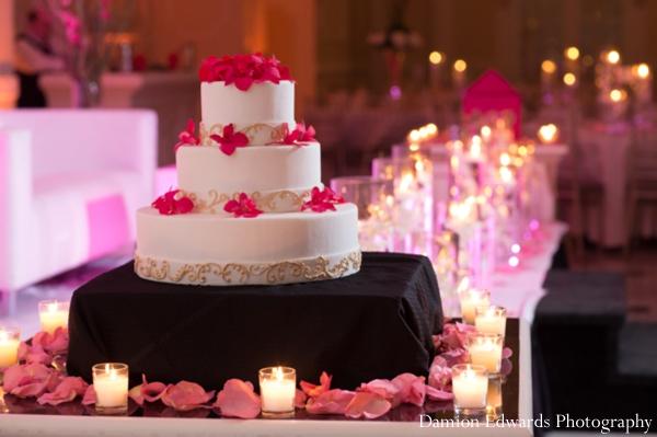 Indian wedding reception cake  lighting