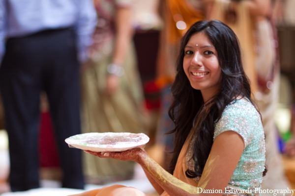 Indian wedding bridal gaye holud in Long Island, New York Indian Wedding by Damion Edwards Photo