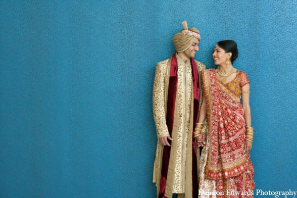Indian wedding bride groom portrait in Long Island, New York Indian Wedding by Damion Edwards Photo