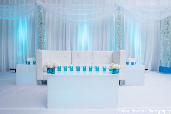 Indian wedding decor blue white in Long Island, New York Indian Wedding by Damion Edwards Photo