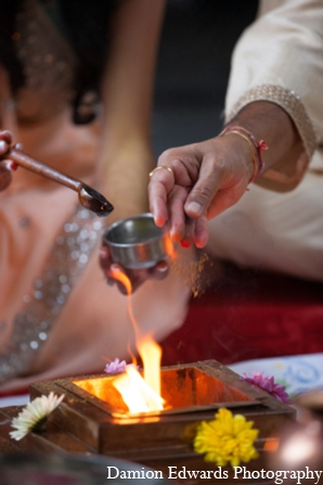 Indian wedding fire ceremony tradition in Long Island, New York Indian Wedding by Damion Edwards Photo