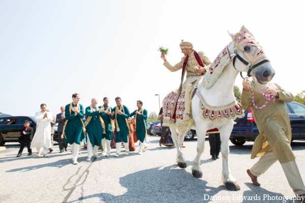 Indian wedding groom baraat transportation in Long Island, New York Indian Wedding by Damion Edwards Photo