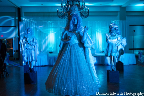 Indian wedding human statue decor in Long Island, New York Indian Wedding by Damion Edwards Photo