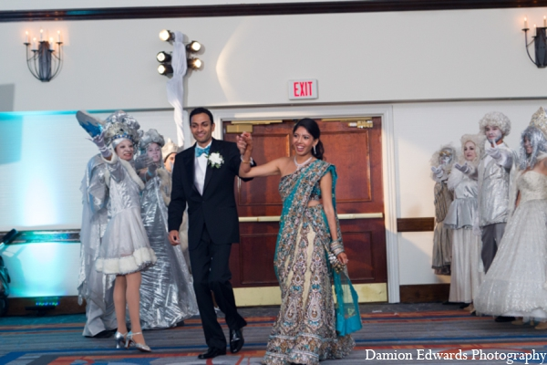 Indian wedding reception bride groom entrance in Long Island, New York Indian Wedding by Damion Edwards Photo