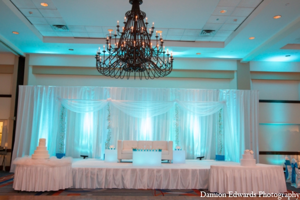 Indian wedding reception decor stage in Long Island, New York Indian Wedding by Damion Edwards Photo