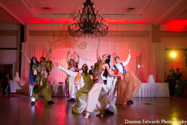 Indian wedding reception entertainment dancers in Long Island, New York Indian Wedding by Damion Edwards Photo