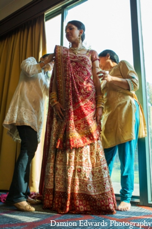 Indian wedding traditional bridal lengha in Long Island, New York Indian Wedding by Damion Edwards Photo