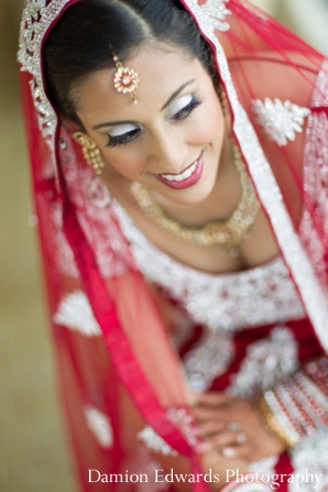 Indian wedding bridal hair and makeup in Jersey City, New Jersey Indian Wedding by Damion Edwards Photography