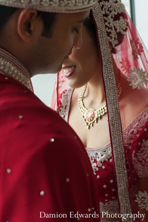 Indian wedding couples portraits outdoors in Jersey City, New Jersey Indian Wedding by Damion Edwards Photography