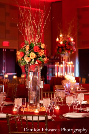 Indian wedding reception lighting decor in Jersey City, New Jersey Indian Wedding by Damion Edwards Photography